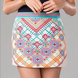Harper Aztec Embroidered Linen Blend Mini Skirt